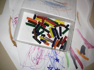 broken crayons for fine motor skill development